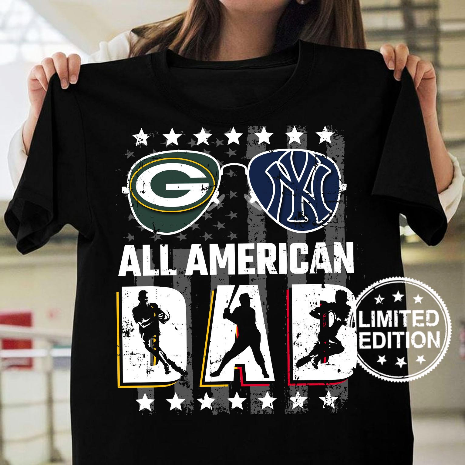 Green Bay Packers And New York Giants All american dad shirt