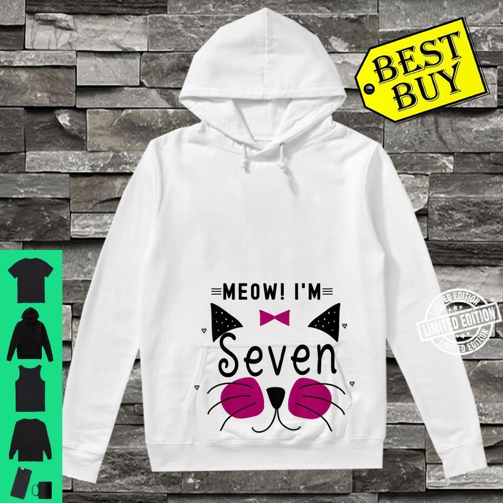 Kids 7th Birthday Kitty Girl Shirt Cat Meow I'm Seven Toddler Shirt hoodie