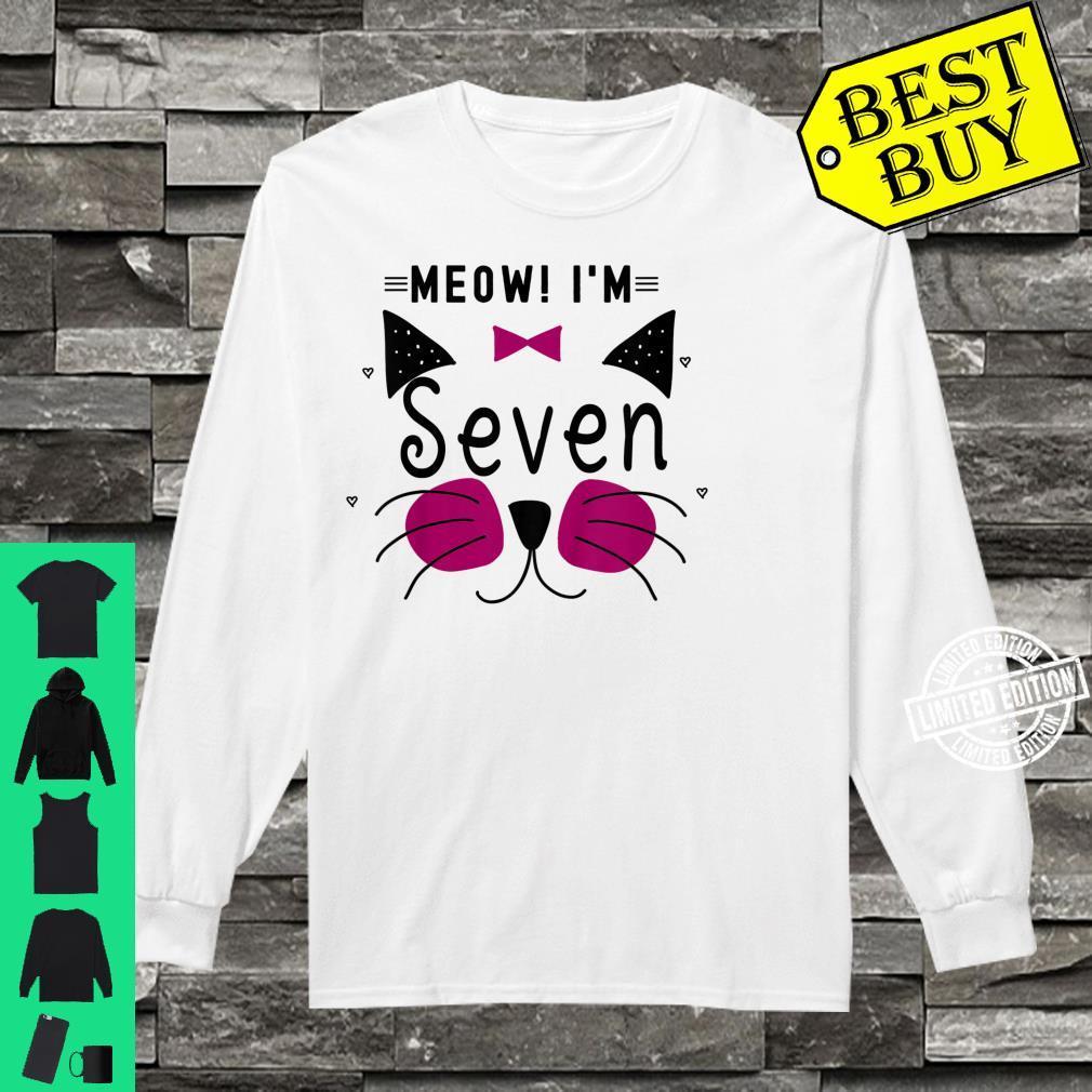 Kids 7th Birthday Kitty Girl Shirt Cat Meow I'm Seven Toddler Shirt long sleeved