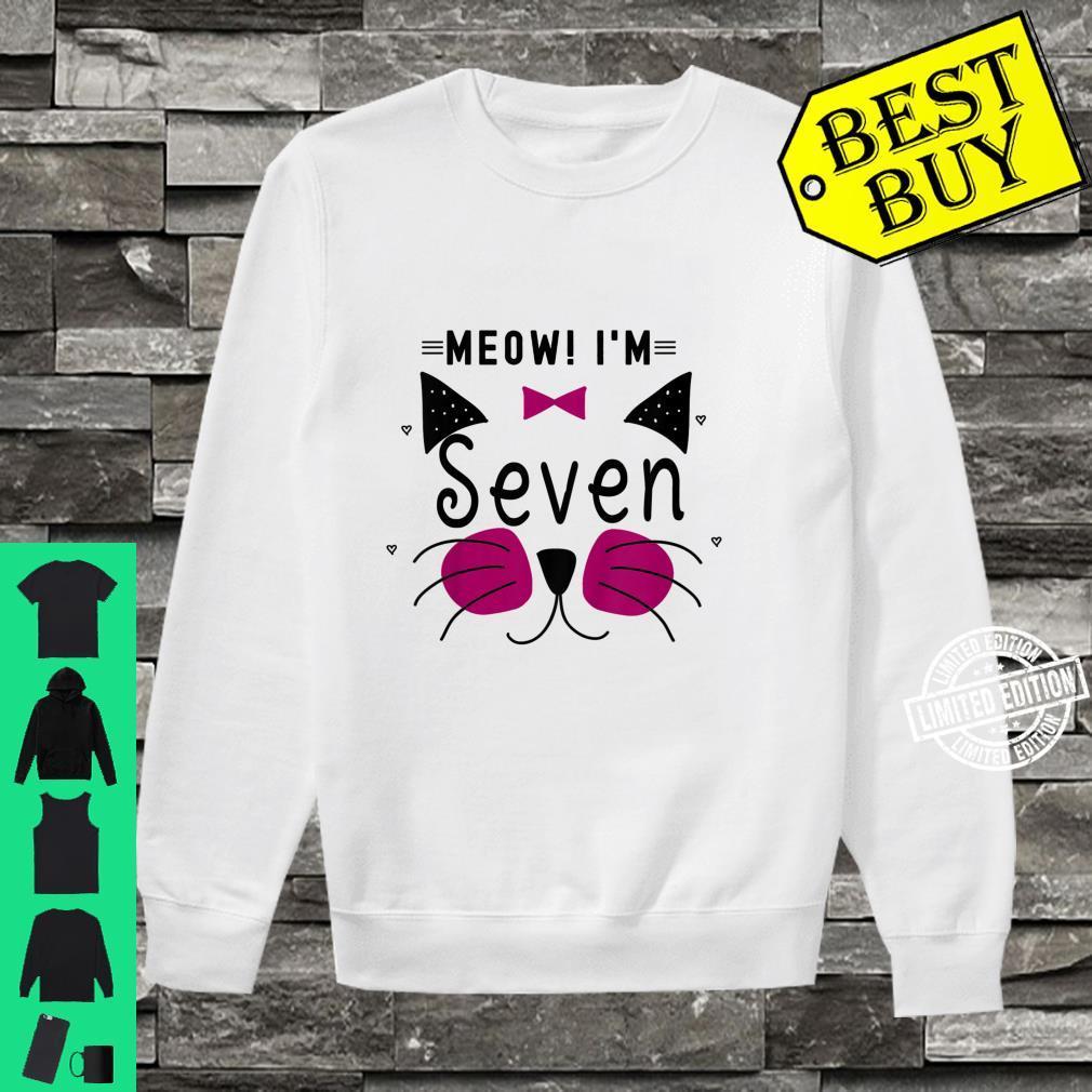Kids 7th Birthday Kitty Girl Shirt Cat Meow I'm Seven Toddler Shirt sweater