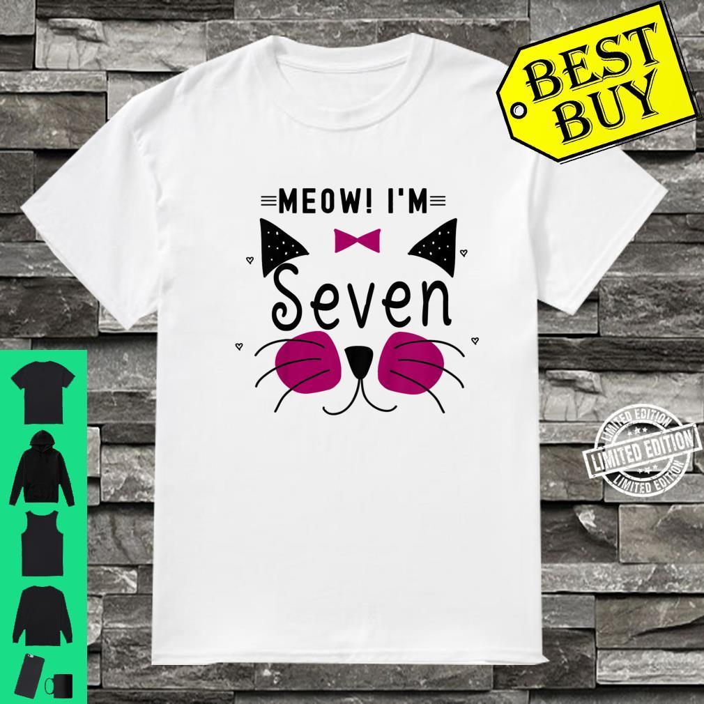 Kids 7th Birthday Kitty Girl Shirt Cat Meow I'm Seven Toddler Shirt