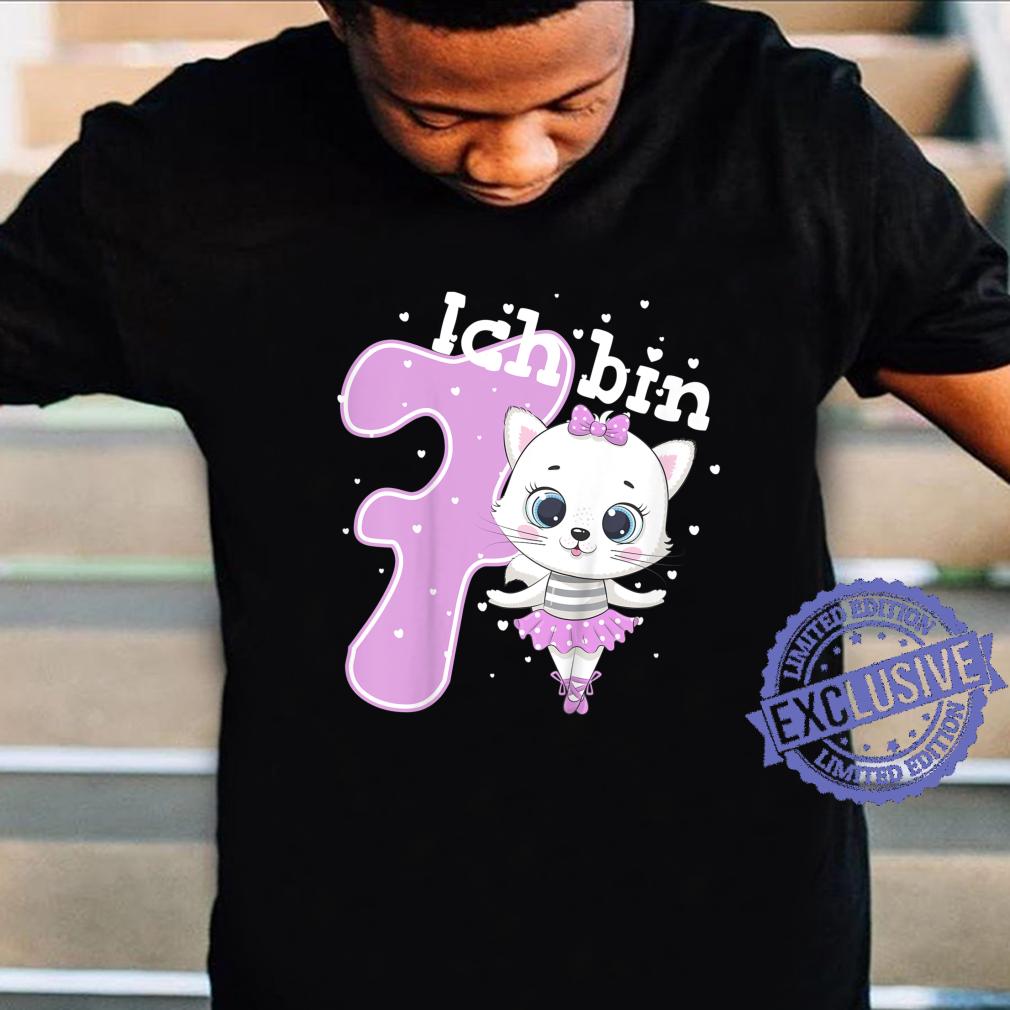 Kinder Kätzchen Geburtstagsshirt Katze 7 Geburtstag Mädchen 7 Jahre Shirt