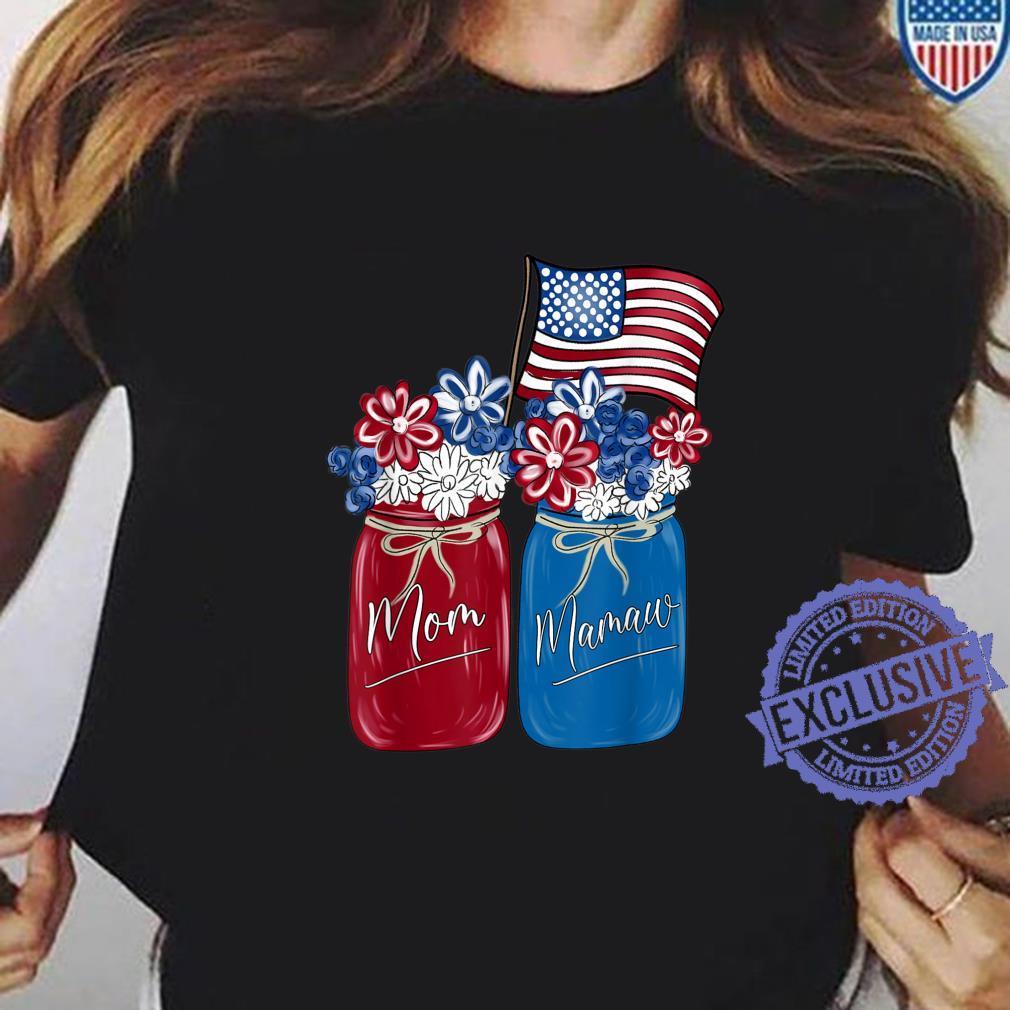 Mom Mamaw Patriotic Flower American Flag Shirt ladies tee