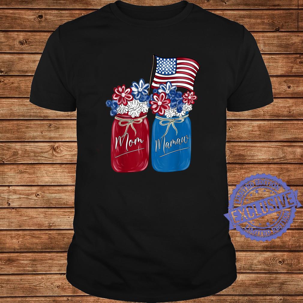 Mom Mamaw Patriotic Flower American Flag Shirt long sleeved