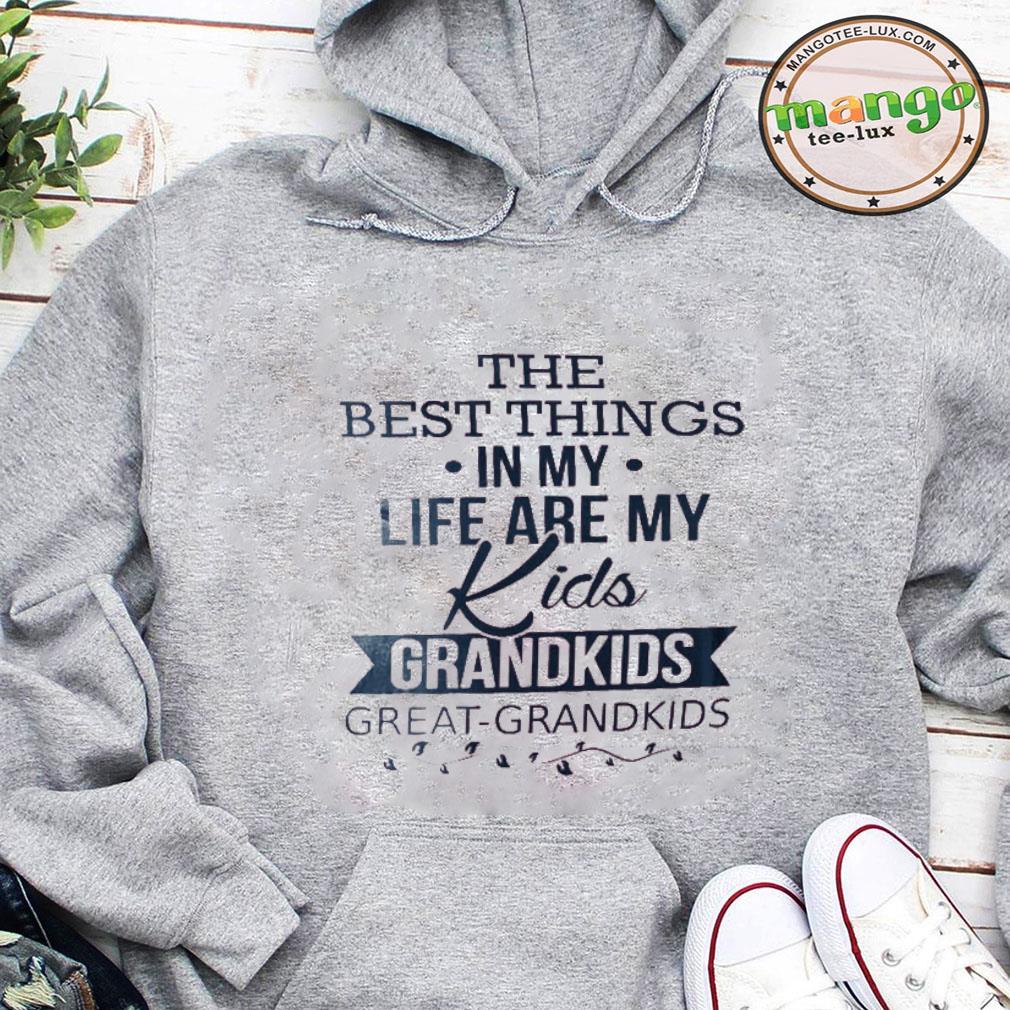 The best things in my life are my kids grandkids great grandkids shirt hoodie
