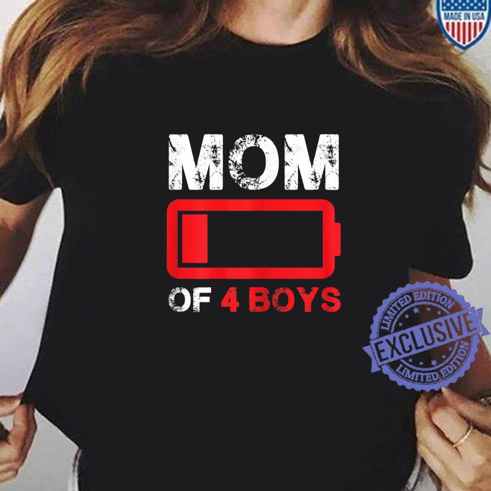 Womens Mom of 3 Boys Low Battery Mother's Day Shirt ladies tee