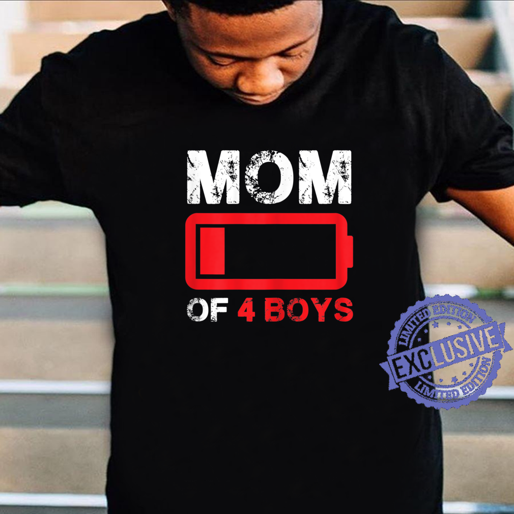 Womens Mom of 3 Boys Low Battery Mother's Day Shirt