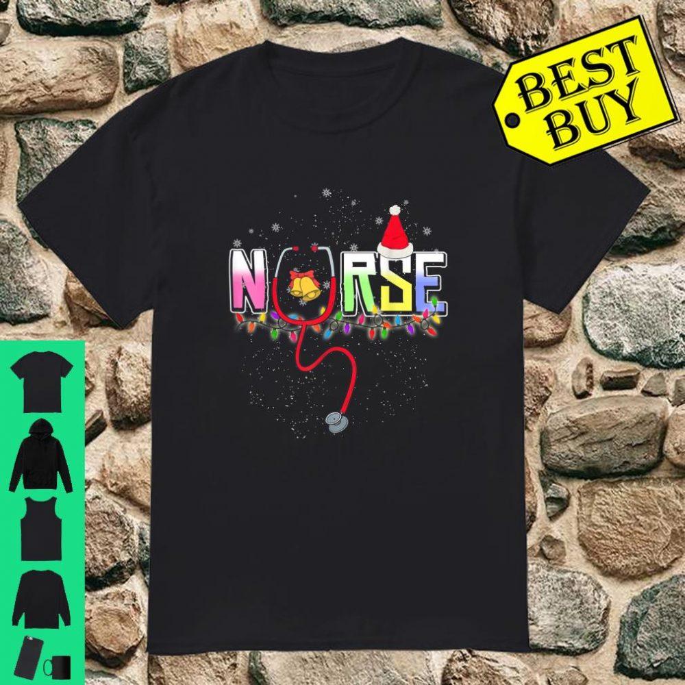 Merry Christmas Nurse Gift Stethoscope Snow Santa Hat shirt
