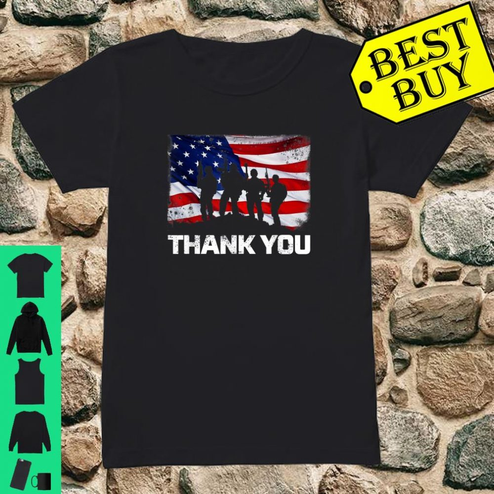 Patriotic Thank You American Flag shirt ladies tee