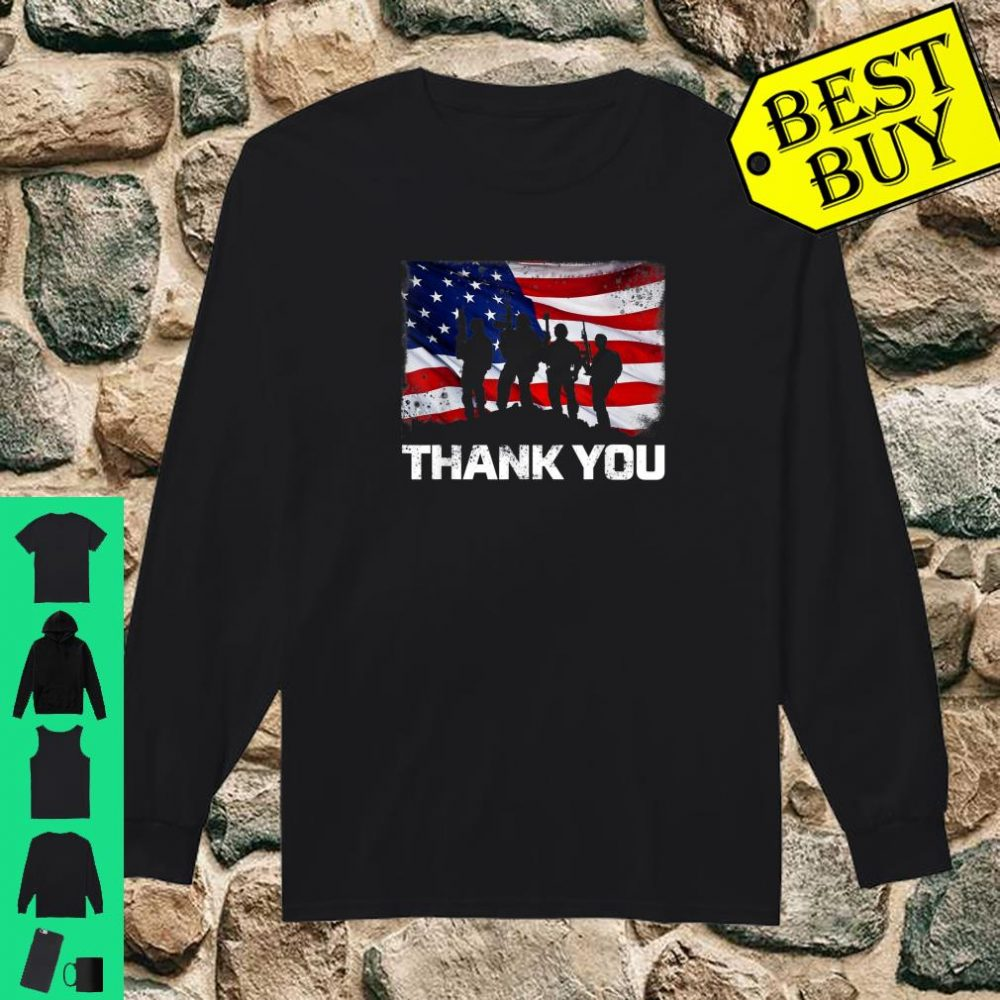 Patriotic Thank You American Flag shirt long sleeved