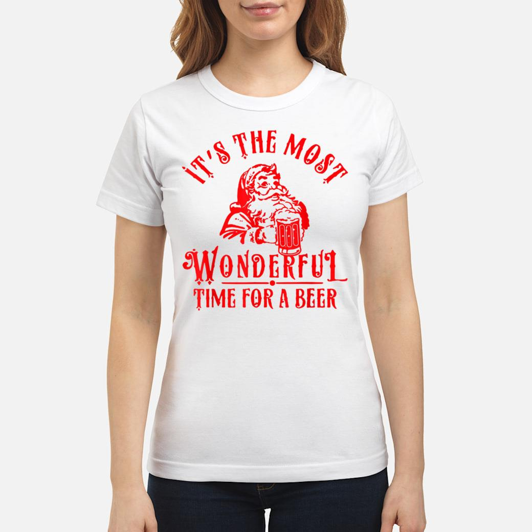 Santa Claus It's The Most Wonderful Time For A Beer shirt ladies tee