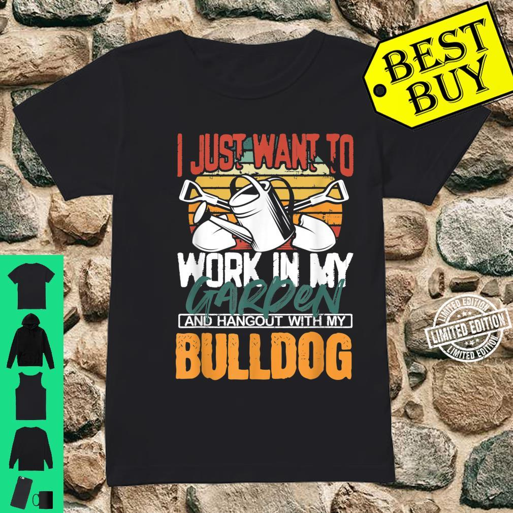 Work in my Garden and Hangout with my Bulldog Vintage Sunset Shirt ladies tee